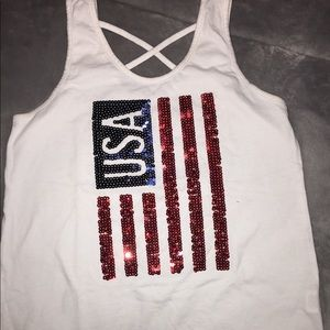 I am selling this white tank top American flag